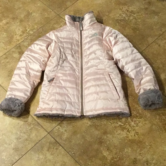 a7613a0dd North Face Girls Pink Winter Jacket with Faux Fur!